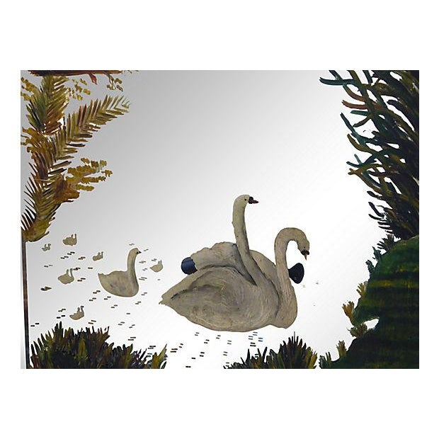 Victorian Painted Mirror with Swans - Image 3 of 3