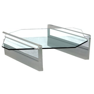 Lucite and Glass Asymmetric Coffee Table