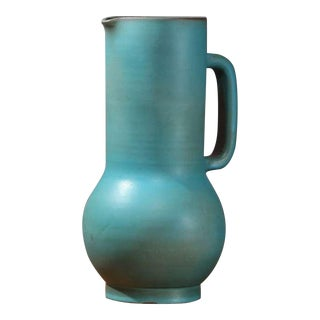 Suzanne Ramie Greenish Blue Madoura Ceramic Pitcher, Vallauris For Sale