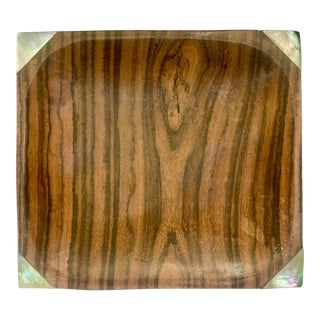 Vintage Modern Wood and Mother of Pearl Tray For Sale