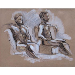 """""""Seated Male Figure X Two"""" Contemporary Figure Drawing For Sale"""