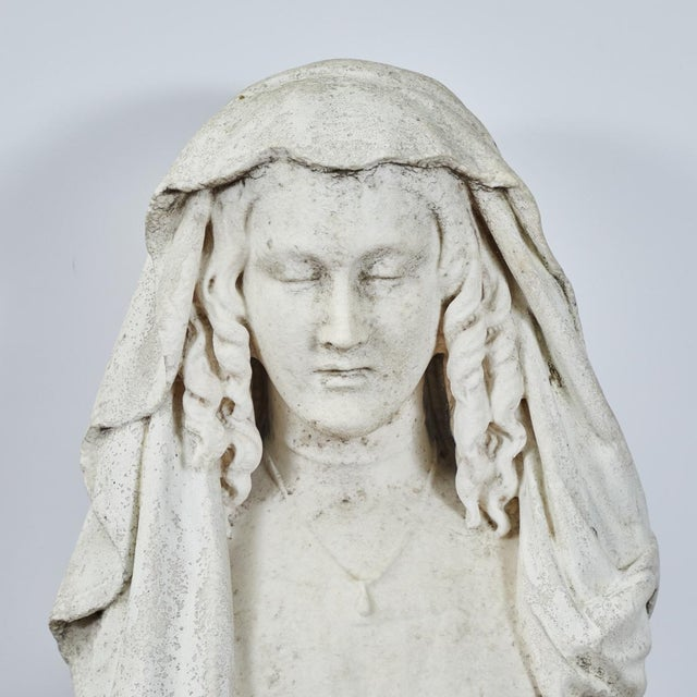 Carved Stone Bust of Woman For Sale In Los Angeles - Image 6 of 9