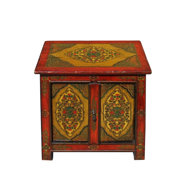 Asian Chinese Multi-Color Tibetan Flower Motif Small Table Cabinet For Sale - Image 3 of 7