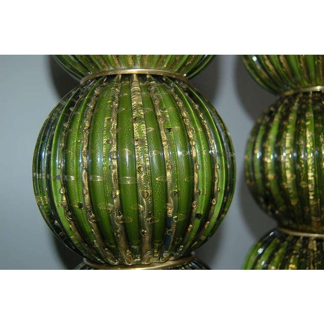 Gold Vintage Murano Glass Stacked Ball Table Lamps Bubbles Green Gold For Sale - Image 8 of 9