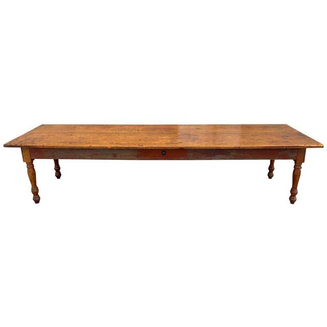 Late 19th Century Southern Red Paint and Chestnut Farm Table For Sale - Image 13 of 13