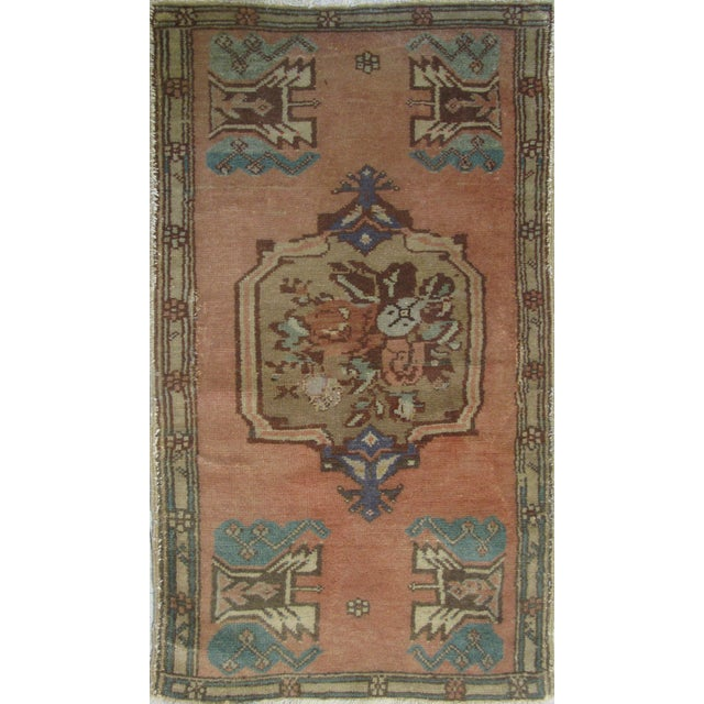 Vintage Turkish Oushak Rug - 1′10″ × 3′4″ - Image 1 of 6
