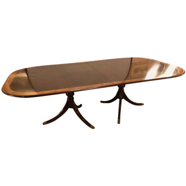 Monumental Georgian Style Banded Dining Room Table With Two Leaves Chairish
