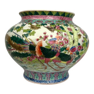Large Oriental Hand Painted Porcelain Bowl, Planter, Cachepot For Sale