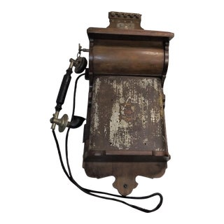 Vintage Jydsk Wall Mount Wood Hand Crank Telephone With Receiver For Sale