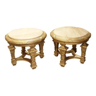 Pair of Louis XIV Style Giltwood and Marble Side Tables from France