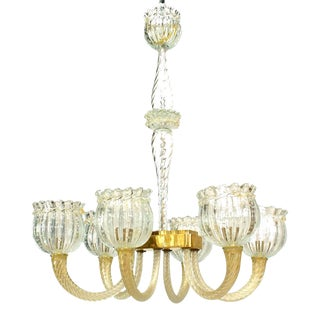 Italian Murano Et Toso Gold Dusted Glass Chandelier For Sale