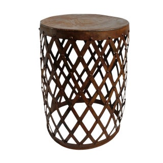 Iron Diamond Barrel Side Table Large For Sale