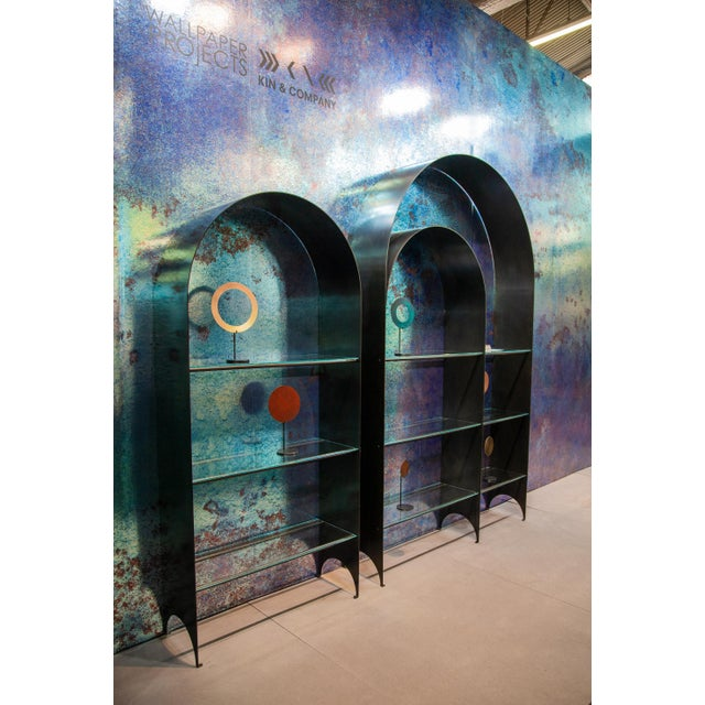 Thin Shelves Double in Contemporary Blackened Steel With Starfire Glass For Sale In New York - Image 6 of 7