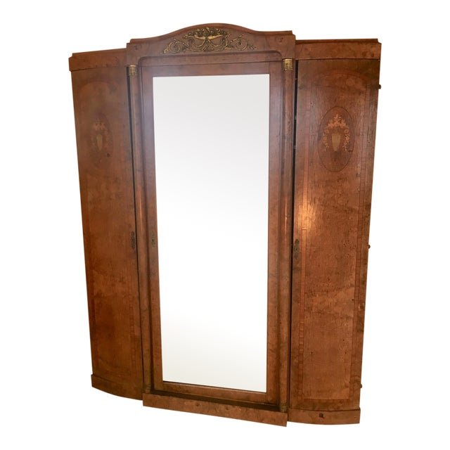Antique French Burlwood Armoire With Mirror - Image 1 of 10