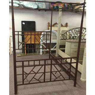 Vintage Chinese Chippendale Faux Bamboo Metal King Size Canopy Bed Preview