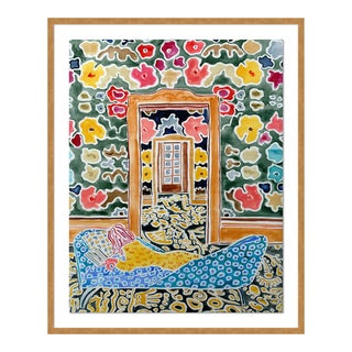 Woman in a Limitless Room by Kate Lewis in Gold Frame, Medium Art Print For Sale