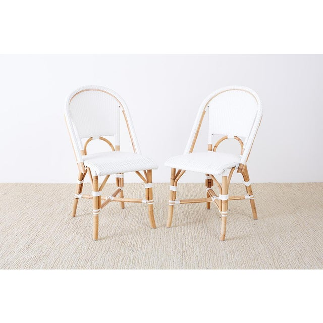 Art Deco Serena and Lily Bamboo Riviera Rattan French Bistro Chairs For Sale - Image 3 of 13