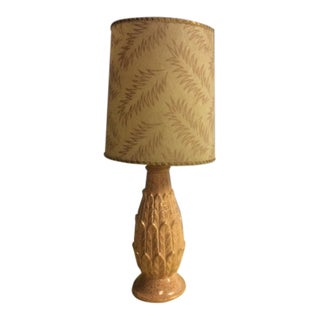 Mid Century Modern Palm Table Lamp With Shade For Sale