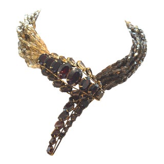 Iradj Moini Necklace Snake Serpent Animal Garnet Smoky Quartz Gem Stone H For Sale