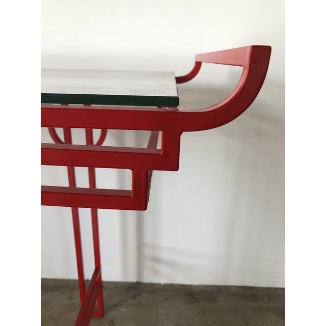 Asian Asian Red Laquer Console With Glass Top For Sale - Image 3 of 6