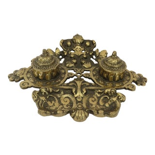 Vintage Brass Inkwell For Sale