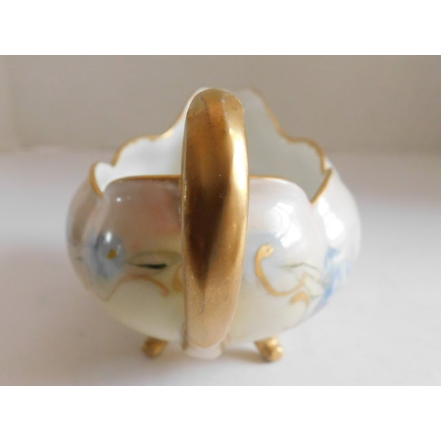 Shabby Chic Limoges Hand-Painted Porcelain Footed Creamer/Saucer For Sale - Image 3 of 11