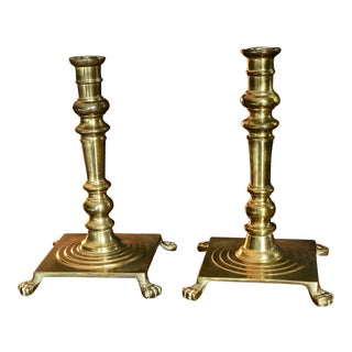 Hollywood Regency Brass Footed Candle Stick Holders - a Pair