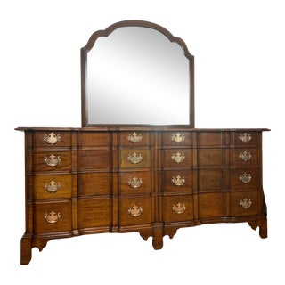 1930s Henry Ford Museum Mahogany Dresser With Mirror by Century Furniture For Sale