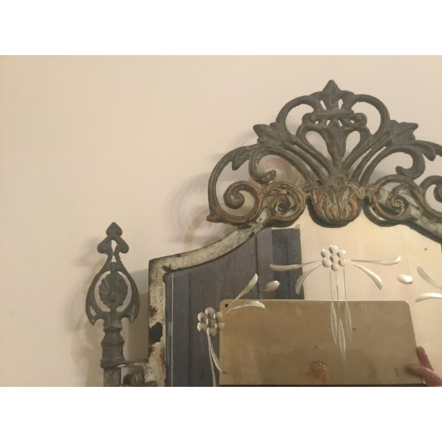 Shabby Chic 1940s Vintage Metal Iron Mirror For Sale - Image 3 of 7