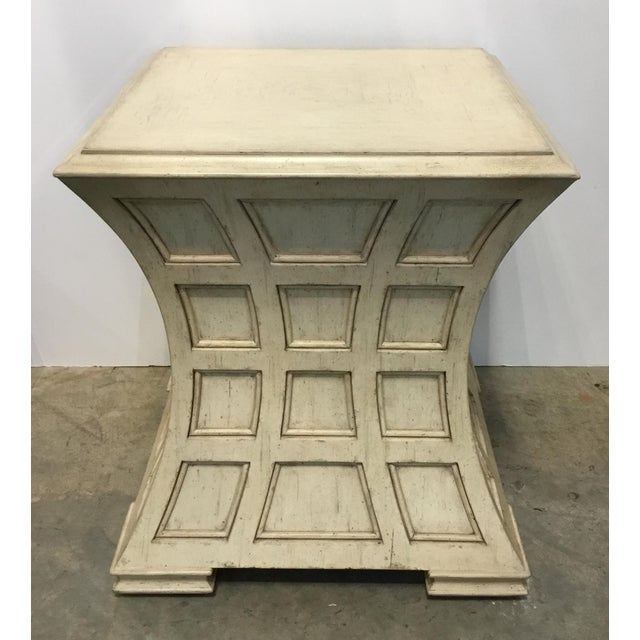 Stylish Pearson modern wood ivory panels side table, showroom floor sample, original retail $2300