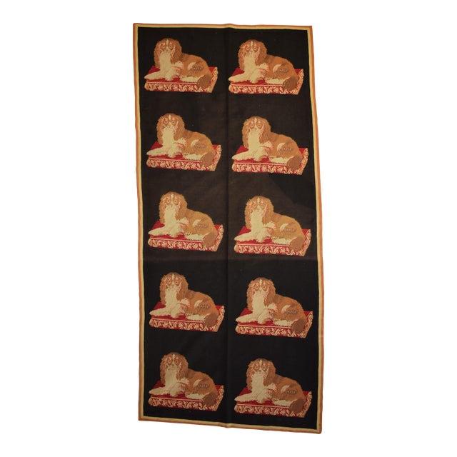 """King Charles Spaniel Stark Needlepoint Runner -- 3'6"""" x 7'9"""" For Sale"""