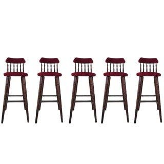 20th Set of Five Upholstered Bar Stools in Walnut & Red Velvet For Sale