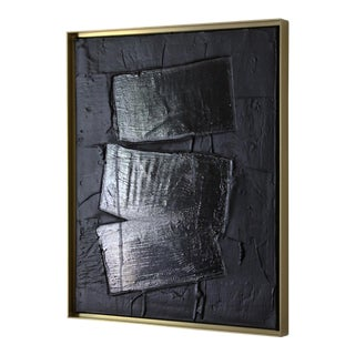 Abstract Minimalist Black Free Form Painting For Sale