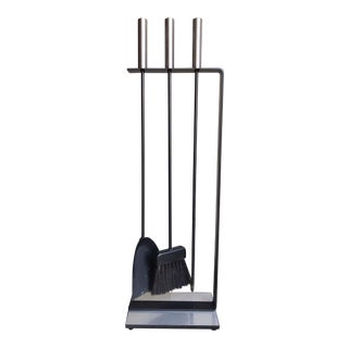 Modernist Fireplace Tool Set in Brushed Chrome Attributed to George Nelson - Set of 4 For Sale