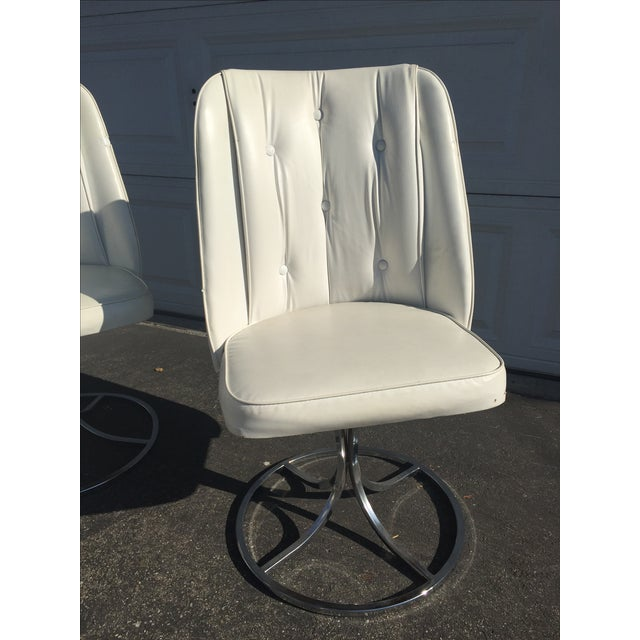 Vintage White Swivel Chairs - Set of 3 - Image 3 of 10