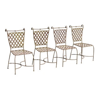 Vintage Mid Century Woven Lattice Wrought Iron Chairs- Set of 4 For Sale