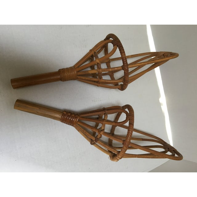 Boho Chic Vintage Rattan Jai Alai Scoops - a Pair For Sale - Image 3 of 6