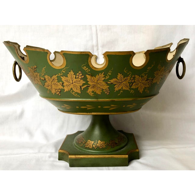 French Green & Gold Tole Neoclassical Footed Monteith/Rafraichissoire/Chillers, Hp For Sale - Image 13 of 13
