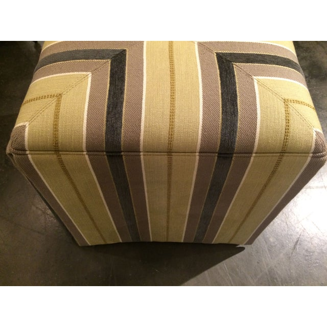 Contemporary Taylor King Upholstered Striped Cube Ottomans - a Pair For Sale - Image 3 of 7