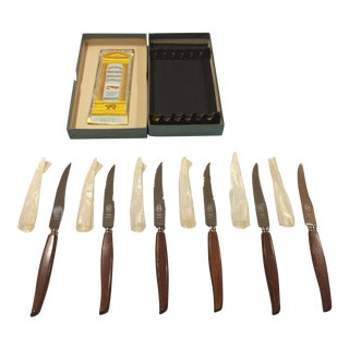 Mid Century Atkinson Brothers Celebrated Cutlery Milton Works Steak Knives Made in Sheffield, England - Set of 6 For Sale