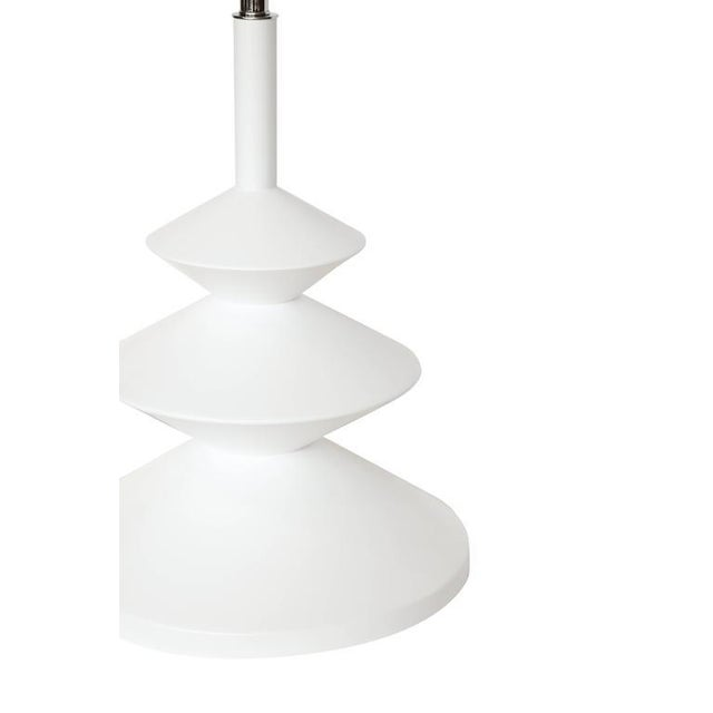 Hoover XL table lamp made from solid turned maple shown in a white satin lacquer finish with polished nickel fixture.