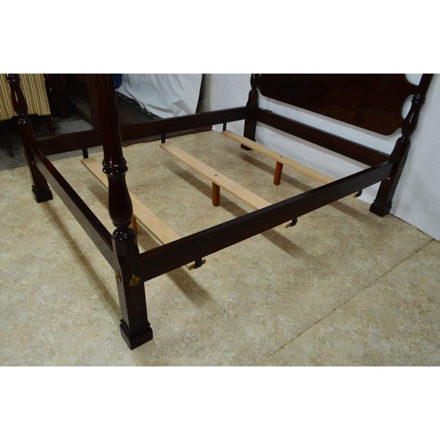 Red 20th Century Traditional Stickley Solid Mahogany Queen Poster Bedframe For Sale - Image 8 of 12
