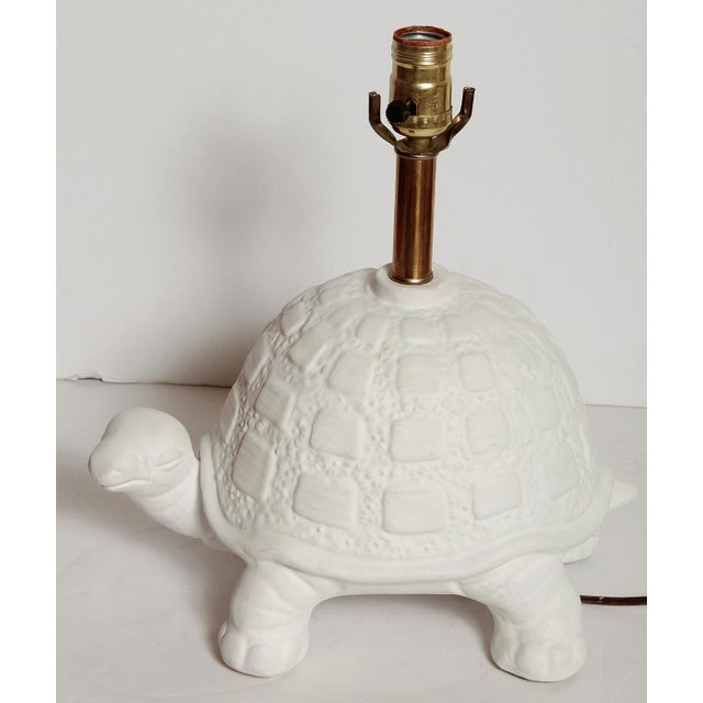 Modern White Plaster Turtle Table Lamp For Sale - Image 10 of 11