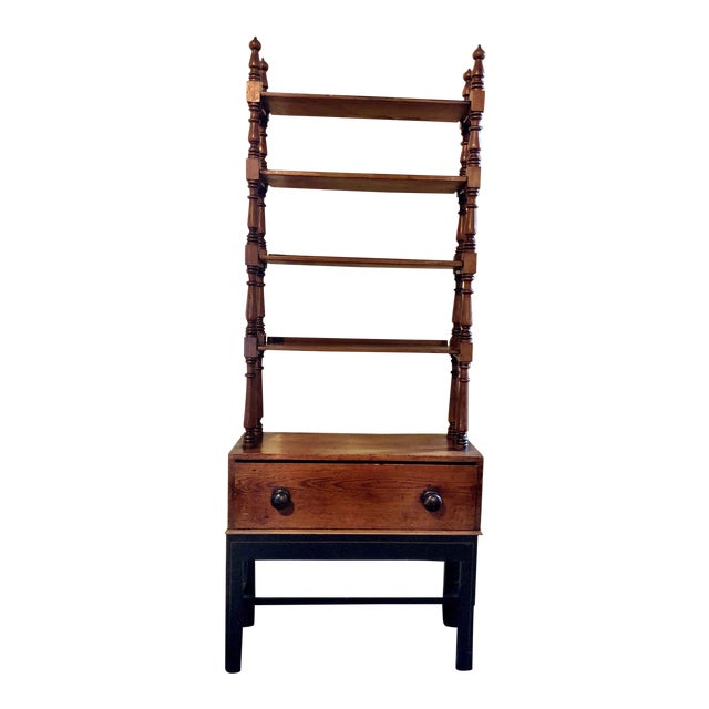 Antique Pine Etagere on Base With Drawer For Sale