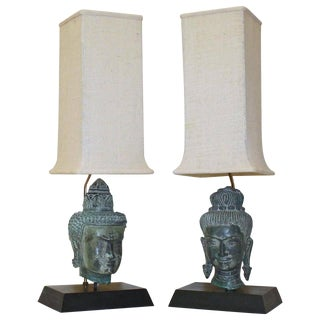 Bronze Male and Female Buddha Heads Table Lamps - a Pair For Sale