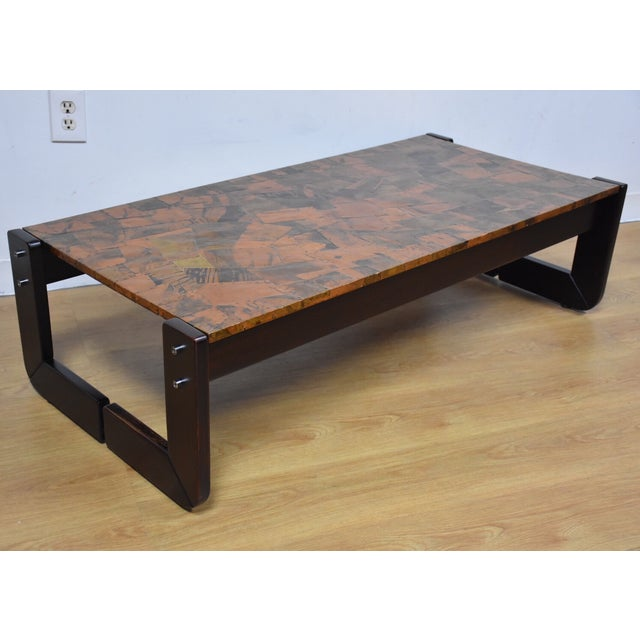 Lafer Brazilian Rosewood and Copper Coffee Table - Image 2 of 11