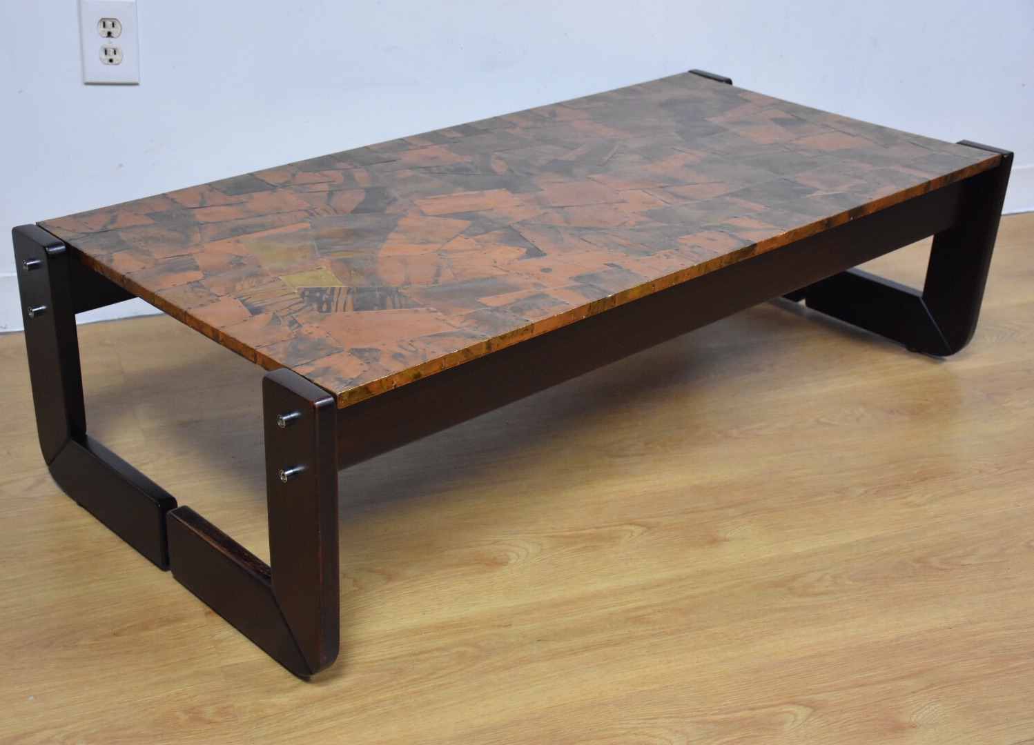Lafer Brazilian Rosewood And Copper Coffee Table   Image 2 Of 11