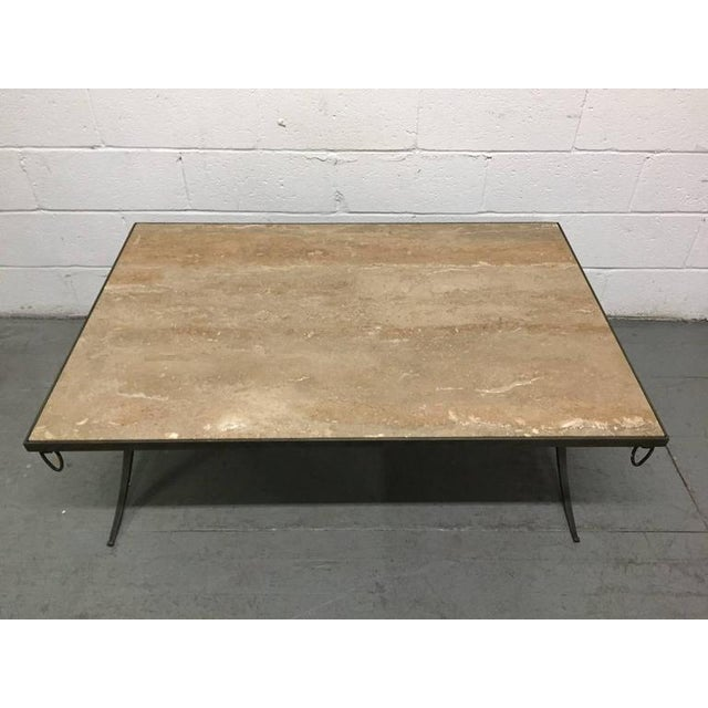 Travertine Top and Wrought Iron Coffee Table For Sale - Image 4 of 7