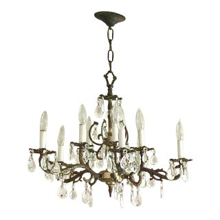 Vintage French Style 8 - Light Brass Chandelier With Crystals For Sale