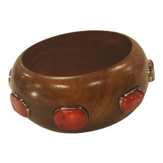 Handmade Wood Bangle With Coral Detail For Sale